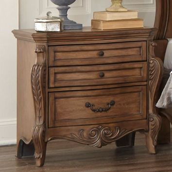 Traditional Wooden Night Stand With Drawers In Pecan Brown
