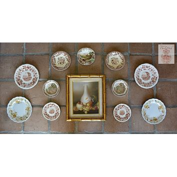 12 pc Mix n Match Vintage English Brown Transferware Plates & Original Framed Still Life Oil Painting Instant Wall Display