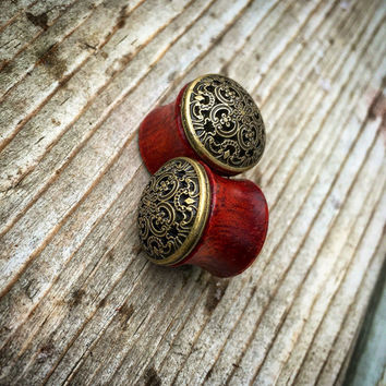 "Vintage Gold Mandala Bloodwood Plugs- Sizes 1/2"" (13mm) & 9/16"" (14mm)/Wood Gauges/Organic /Formal/Mandala/ Expanders/Stretchers/Floral/Men/"
