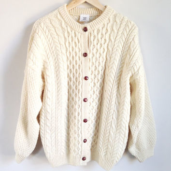 Vintage Fisherman Sweater -- Cable Knit Cardigan --  Chunky Knit Wool -- Cream -- Wood Buttons -- Made in Scotland -- Womens Large