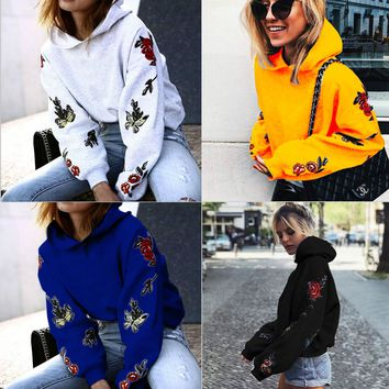 Floral Embroidered Hoodie - Women Floral Hoodie Jumper Hooded Sweater Casual Long Sleeve Sweatshirt Pullover