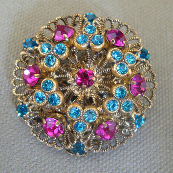 Aqua & Fuschia Vintage Brooch West Germany Rhinestones