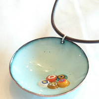 Blue Enamel Necklace Millefiori Enamel Pendant Enamel Jewellery Enamel on Copper Necklace Millefiori Jewellery Boho Chic