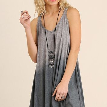 Gray Dip Dyed Racerback Dress