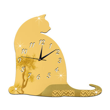 Big Fat Cat Mirror Sticking Wall Clock Decoration   golden