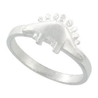 Sterling Silver Stegosaurus Dinosaur Ring 5/16 inch wide, size 9