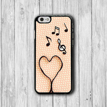 iPhone 6 Case - Music Heart Lover Note Pink Polkadot Phone 6 Plus Cases, iPhone 5, 5S, iPhone 4/4S Cover Personalized Custom Gift Accessory