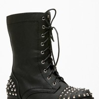 Bamboo Spiked Studded Black Combat Boots @ Cicihot Boots Catalog:women's winter boots,leather thigh high boots,black platform knee high boots,over the knee boots,Go Go boots,cowgirl boots,gladiator boots,womens dress boots,skirt boots.