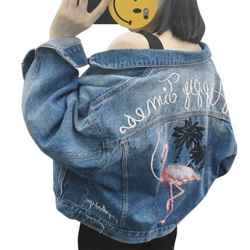 iSHINE Women Jacket Flamingo Lady Coat Denim Internet Star recommend Loose Washed Embroidery Boyfriend cowboy Fashion Cool blue
