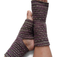 Yoga Socks Hand Knit in Purple and Brown Pedicure Pilates Dance