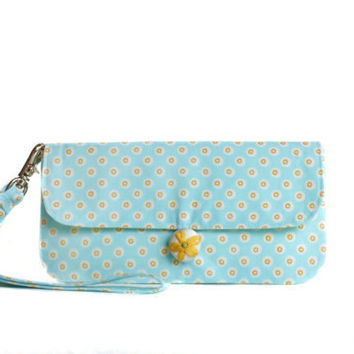 Clutch with Removable Strap Aqua Blue and Yellow by AppleWhite
