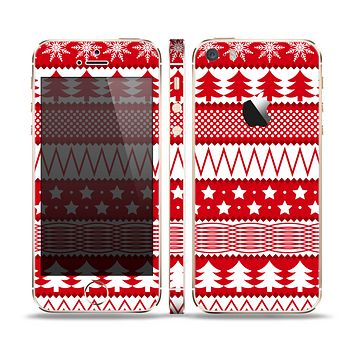 The Red and White Christmas Pattern Skin Set for the Apple iPhone 5s