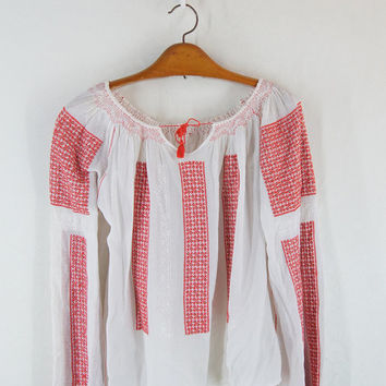 Romanian Red  Embroidery blouse Vintage 60's Balkan blouse  Hand red Embroidery white Background Folk  Athletic top M  free shipping