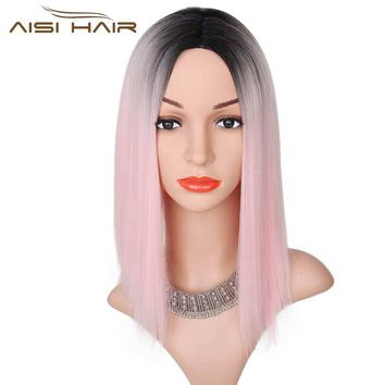 I's a wig Black  Ombre Pink Wig  Straight  Synthetic Wigs  Short Hair for Black Women  High temperature Fiber