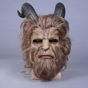 Movie Beauty and the Beast Mask Cosplay Adam Prince Horror Lion Latex Masks Helmet Halloween Masquerade Party Props