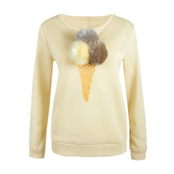 Women Kpop Sweatshirt Jumper Pom-Pom Ball Ice Cream Long Sleeve Funny Shirt Casual Tracksuit Hoody Hoodies SM6