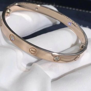 Cartier LOVE Bracelet in 18k Rose Gold w/ 4 Diamonds & Screwdriver, Size 17