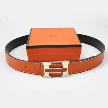 Perfect Hermes Men Woman Fashion Smooth Buckle Belt Leather Belt