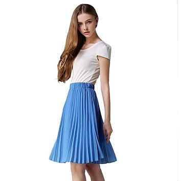 2017 Pleated Skirt Spring European Style Elegant Tulle Pleated Skirt Blue Chiffon Skirt Women's Vintage Pink Midi Skirt