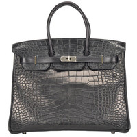 """NEW"" HERMÈS BIRKIN 35cm Black color, 3 Leathers with Alligator"