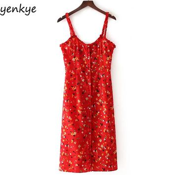 Sweet Women Red Floral Printed Sling Dress Sexy Sleeveless Casual Bodycon Summer Dresses Midi vestidos Mujer DDOM7134