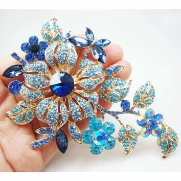 Vintage Style Blue Rose Flower Brooch Pin Rhinestone Crystal Classic Woman Party Jewelry Free Shipping