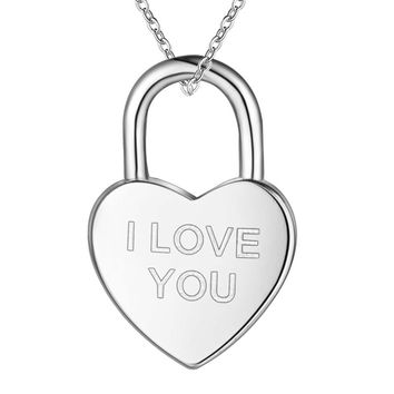 I Love You Heart Shaped Padlock Sterling Silver Necklace