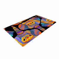 "Pom Graphic Design ""The Elephant In The Room"" Rainbow Tribal Woven Area Rug"