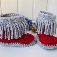 Baby booties, crochet baby shoes, slippers for children, socks, boots knit, a gift for a child, a baby shower, Red and gray, Ready to ship