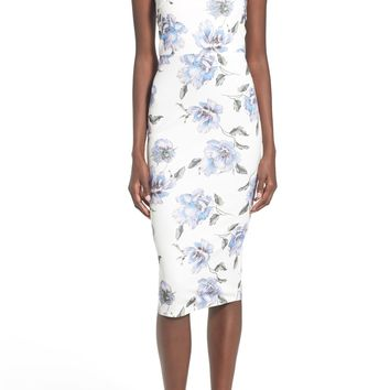 Missguided Floral Print Strapless Sheath Dress | Nordstrom