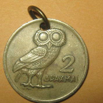 Authentic Vintage ANTIQUE Greek Athena Owl Phoenix Coin Pendant Necklace