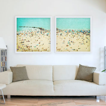 Oversized art, Large Art Set, Large Art Collection, Two Beach Prints 20x20, Beach People, Coney Island Beach, Diptych Art Prints Set of 2