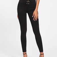 Empire Eyelet Lace Up Leggings -SheIn(Sheinside)