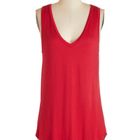 ModCloth Athletic Long Tank top (2 thick straps) Endless Possibilities Tunic in Crimson