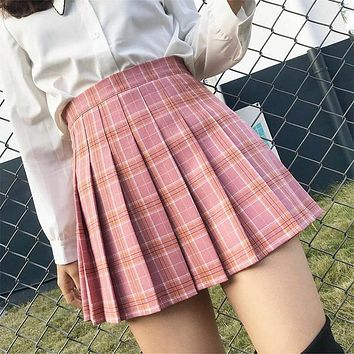 XS-2XL Harajuku 2019 Women Fashion Summer high waist dance pleated saia Wind Cosplay plaid skirt kawaii Female Skirts