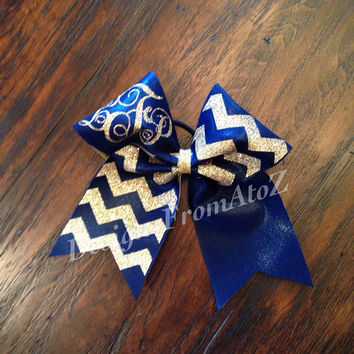 Gold Chevron Monogrammed Cheer Bow