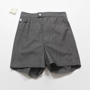 Vintage 60s Chambray SHORTS / 1960s Men's Deadstock Black Chambray Swim Trunks NWT