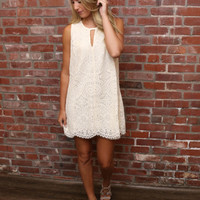 Ivory Sleeveless Dress W/ Keyhole