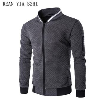 Hot 2017 New Trend White Fashion Men Jacket Men Veste Homme Bomber Fit Argyle Zipper Varsity Jacket Casual Jacket For Fall