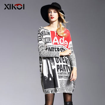 2017 Autumn Long Oversized Sweater Women Jumper Casual Batwing Sleeve Print Woman Sweaters Pullovers Fashion Pullover Clothing
