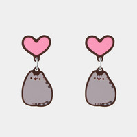 Pusheen Heart stud earrings