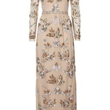 Limited Edition Jewel Embellished Maxi Dress - Nude