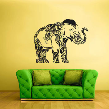Large Wall Vinyl Sticker Decals Decor Art Bedroom Design Mural Ganesh Om Elephant Tatoo Head Mandala Tribal (z2251)