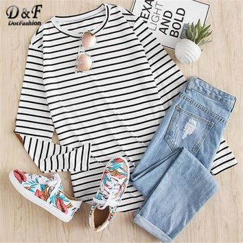 Dotfashion Womens Long Sleeve Tops Womens Clothing Women Shirts Korean Fashion Vintage Elbow Patch Striped T-shirt