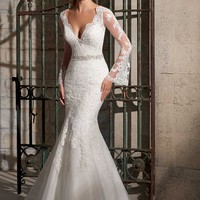 Mori Lee 2701 Long Sleeve Lace Wedding Dress
