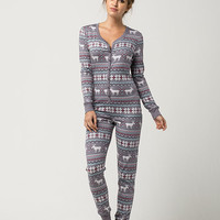 COSMIC Fair Isle Moose Womens PJ Onesuit | Pajamas