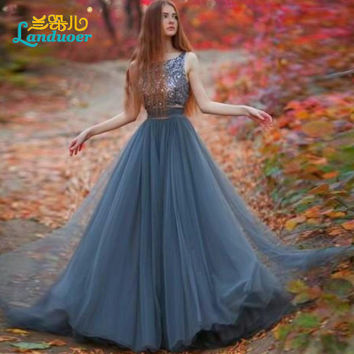 2016 Vintage Two Pieces Long Prom Dresses Sequined Beaded Tulle Women Prom Gowns 2016 Floor Length Formal Party Evening Dress