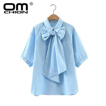 New Casual Summer Tops Short Sleeve Turn-Down Collar Shirt Women Solid With Bow Blouse