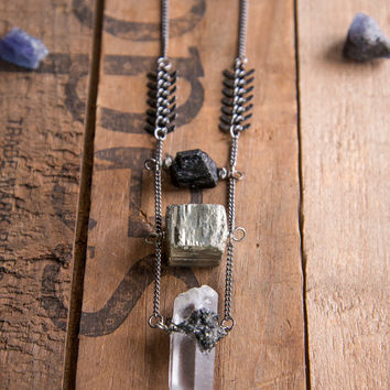 STONES ON STONES Pendant - Tourmaline Pyrite Encrusted Quartz Fishbone Chain Raw Crystal Gemstone Gypsy Boho Chic Moon Child Edgy Jewellery