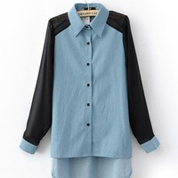Blue Long Sleeve Denim Blouse with Poket  $41.00